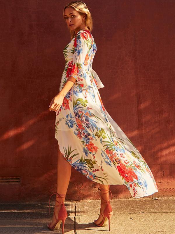 Floral Split-front Flared Sleeves V-neck Bohemia Maxi Dress