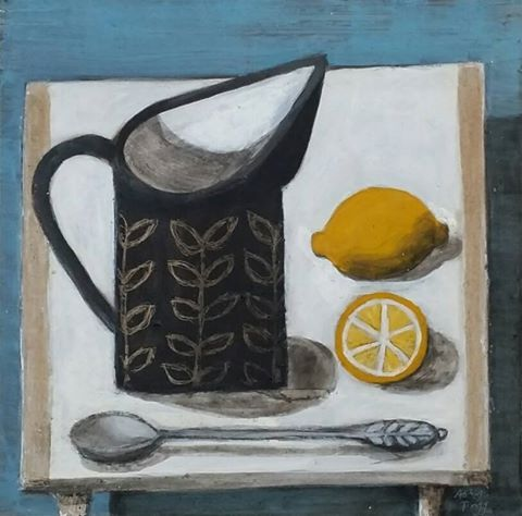 Astrid Trugg - Two lemons and patterned jug.