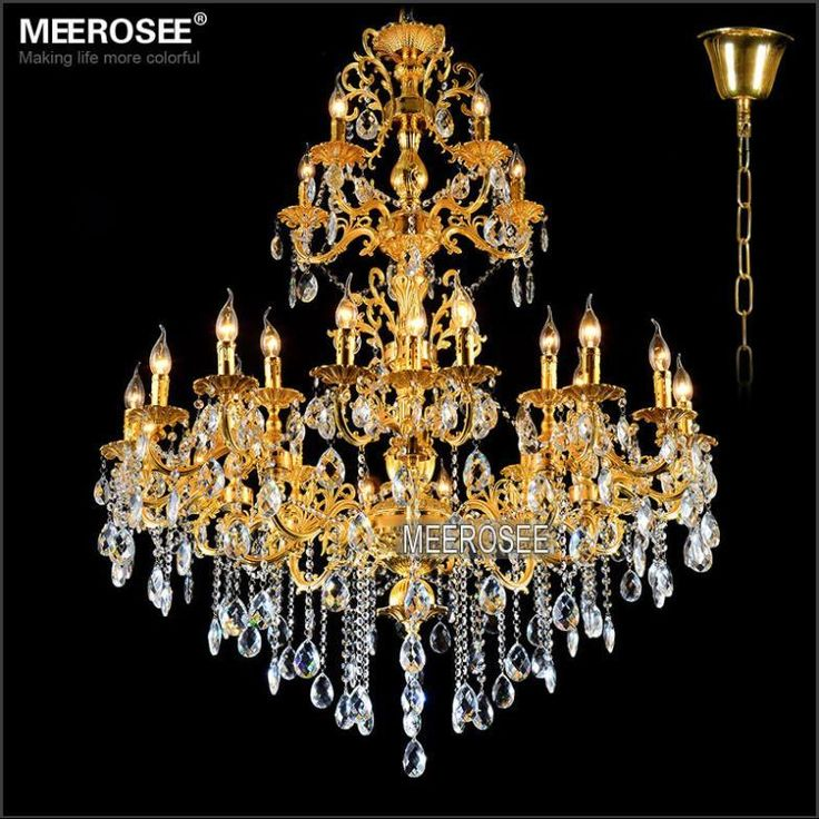 Luxurious Gold Large Crystal Chandelier Lamp Crystal Lustre Light Fixture 3  Tiers 29 Arms Hotel Lamp Ideas