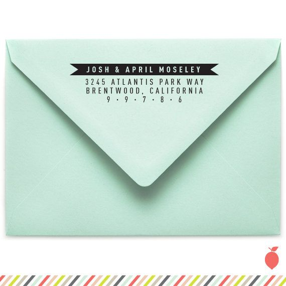Banner Return Address Stamp SelfInking by LemonTreePaperCo on Etsy, $35.00