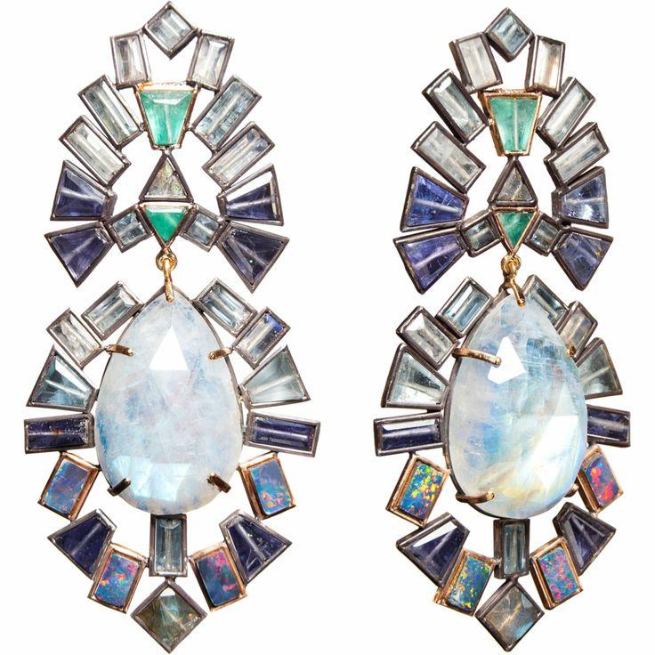 Nak Armstrong Tanzanite, Opal, Moonstone, Labradorite, Aquamarine & Emerald Earrings