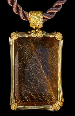 Mousson Atelier Wind Collection Gold 750 Rutile Quartz Pendant featuring 84.10ct Rutile Quartz and 1.54ct Yellow Sapphire; 25.22g total weight