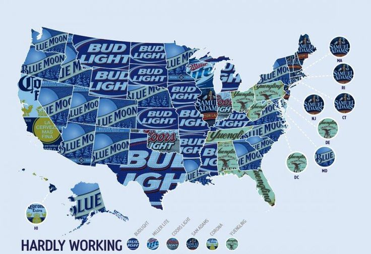 Pretty surprised by how many states blue moon is the top selling beer for. Yay Yingling! Go go!