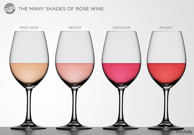guide to rosé: The longer the grapes' skins are left sitting in the wine, the darker the color of the finished rosé.