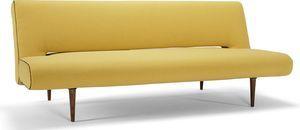 Stijlvolle design (slaap) bank van Innovation met een hoogwaardig pocketveren matras. De combinatie van de donker gekleurde houten poten en de mosterd gele stof geven deze bank een moderne Scandinavische uitstraling. De rugleuning is inklapbaar waardoor je op een eenvoudige manier een comfortabel bed maakt voor jezelf of voor je gasten. Standaard leverbaar in lichtgrijze-, zwarte-, mosterd gele stof en een hippe bloemen stof. Naast deze 4 standaard voorraadkleuren zijn er nog vele kleuren…