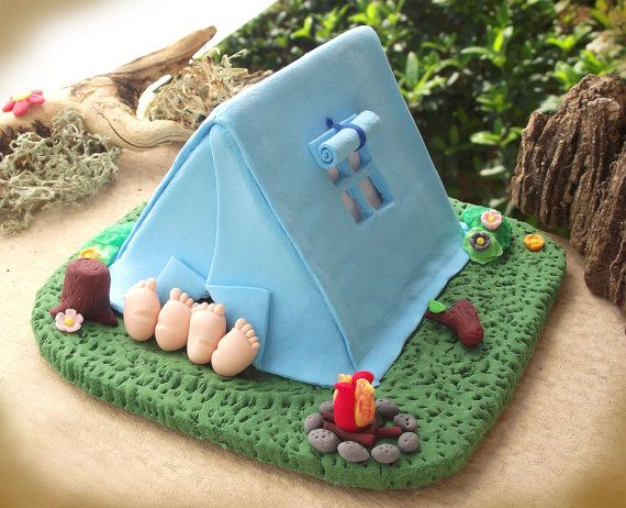 Camping tent wedding cake topper  funny cute by PassionArte