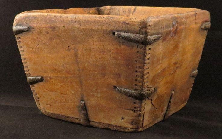 "Antique ASIAN BASKET Primitive Wood & Metal Rice Measure ""Dou"" CHINESE BOX"