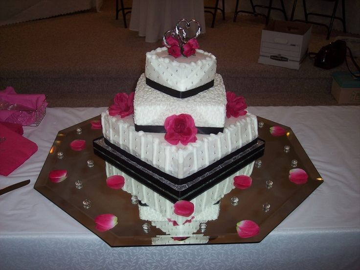 Black Pink Silver and White Wedding — Square Wedding Cakes