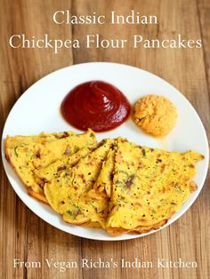 Classic Savory Indian Chickpea Flour Pancakes - a naturally vegan, dairy-free, gluten-free, healthy recipe featured from Vegan Richa's Indian Kitchen. via GoDairyFree.org