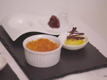 Crème brûlée, Mango-Praline und Mangosorbet - Rezept - kochbar.de