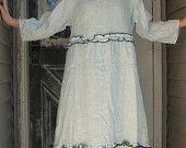 Light Blue Gray Miniruffle Tunic Dress XS