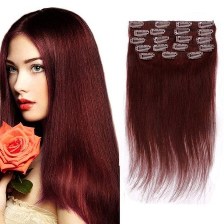 8045 best cool red hair extensions images on pinterest braids creamily 16 9 pieces 6a grade 100 real remy clip in hair extensions pmusecretfo Gallery