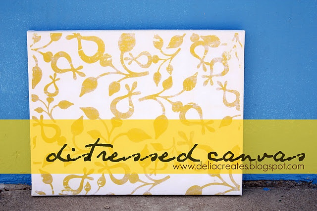distressed canvas art - tutorial, from Delia Creates