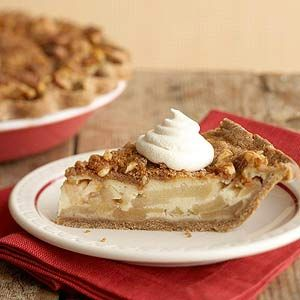 Sour Cream Apple Pie with Gingerbread Crust | more low-calorie fall desserts: http://www.bhg.com/recipes/healthy/dessert/low-calorie-fall-dessert-recipes/ #myplate