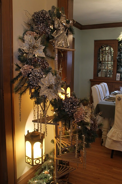 Vintage plant stand used for re-purposed church lanterns