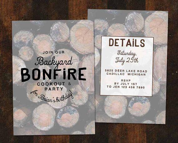 Birthday Party Invitation  Invite  Bonfire  by LittleCreekCo