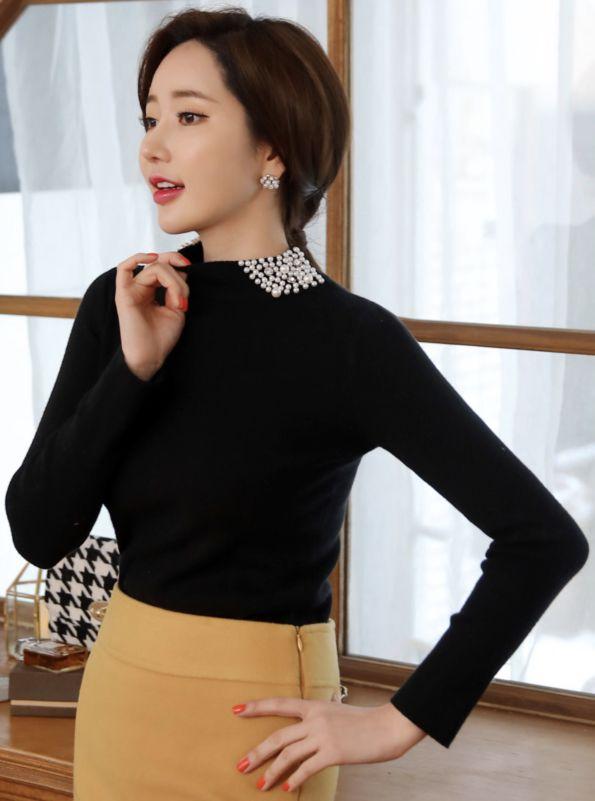 StyleOnme_Pearl Beaded Collar Knit Tee #black #pearl #elegant #tee #koreanfashion #kstyle #kfashion #dailylook