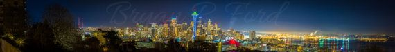 Seattle Night Skyline Panoramics by BNDFineArt on Etsy