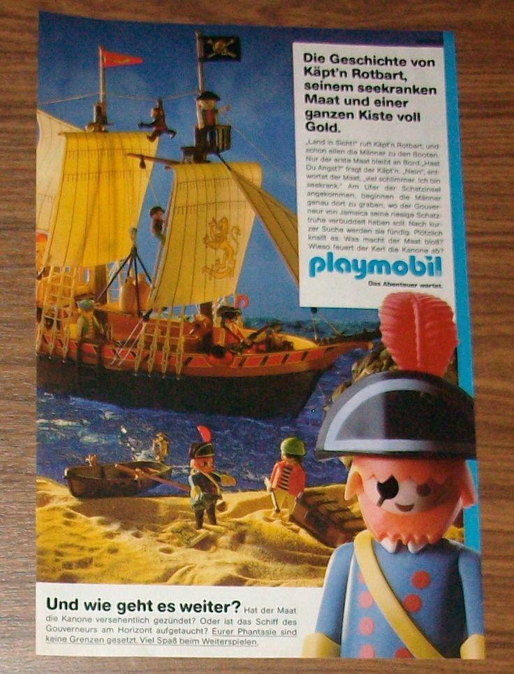 Seltene Werbung PLAYMOBIL Piraten Piratenschiff Käpt'n Rotbart Schatzinsel 1991 | eBay
