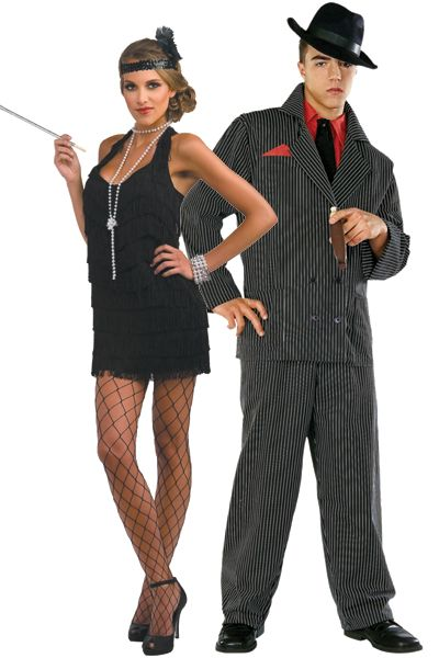 #halloween costume ideas. Flapper And Gangster: Go back to the Roaring '20s and hit up a speakeasy in these fun getups.