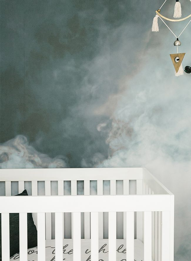Modern Smoke Mural Nursery for a Baby Boy - Inspired By This