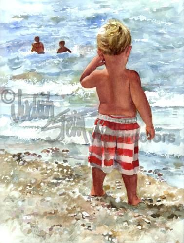 BOY on Beach Watching Big Brothers & Sisters Art Print