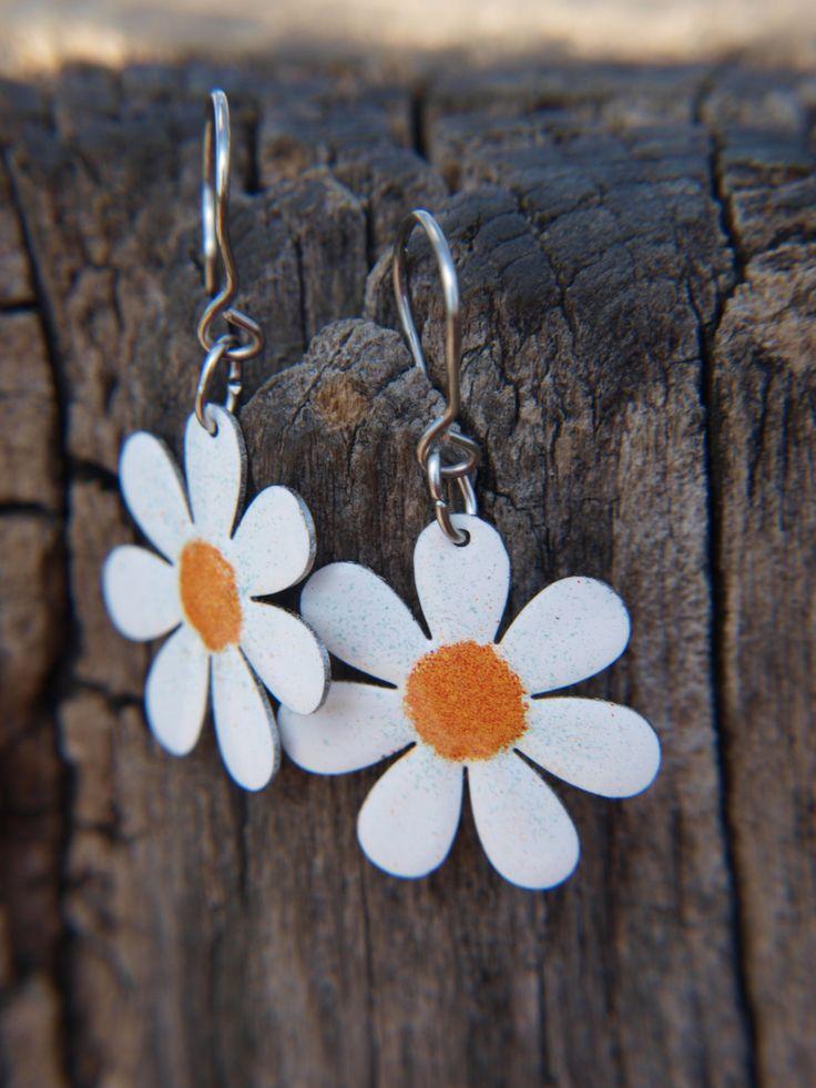 Daisy Flower Earrings, Enameled Metal Stainless Steel, Handpainted Flowers, Flower Jewelry, Floral Earrings by CinkyLinky on Etsy