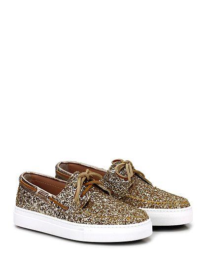 STOKTON - Sneakers - Donna - Sneaker in glitter e pelle laminata con suola in gomma. Tacco 30. - ORO