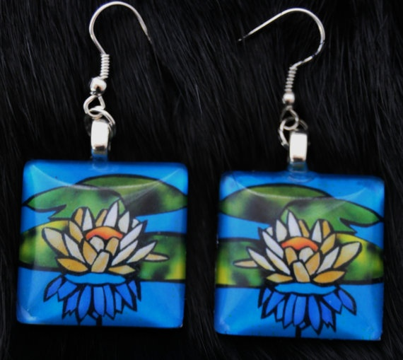 Water Lily earrings by KabloonaKreations on Etsy, $13.00