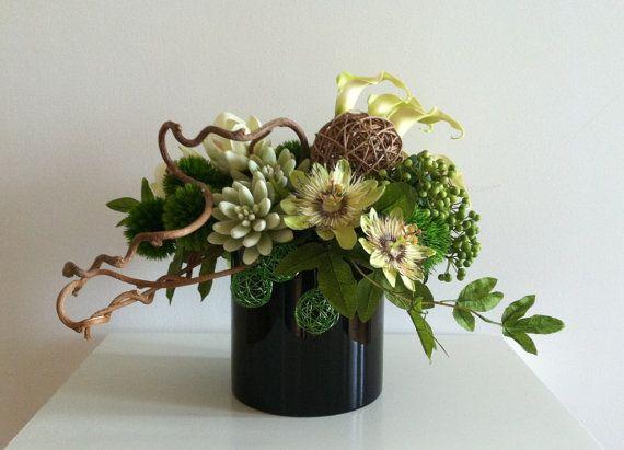 Modern Floral Arrangement  Green Brown Black by ArtsFloralDesign