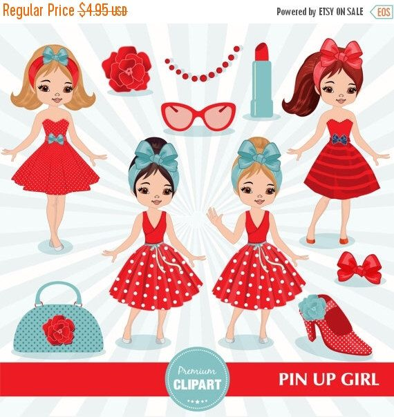 80% OFF SALE Pin up girl clipart, Girl clipart, Chic clipart, Fashion clipart…