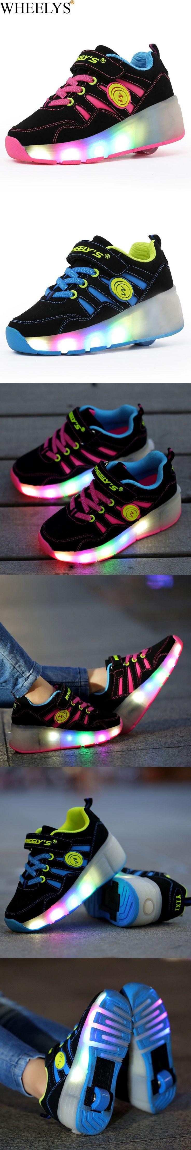 2016 New Summer Breathable Child shoes WHEELYS Girls Boys LED Light Roller Skate Shoes For Children Kids Sneakers With Wheels $23.52
