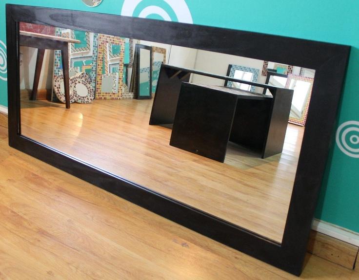 Espejo con marco de madera 50x130cm living ba o comedor for Espejos con marco de madera para comedor