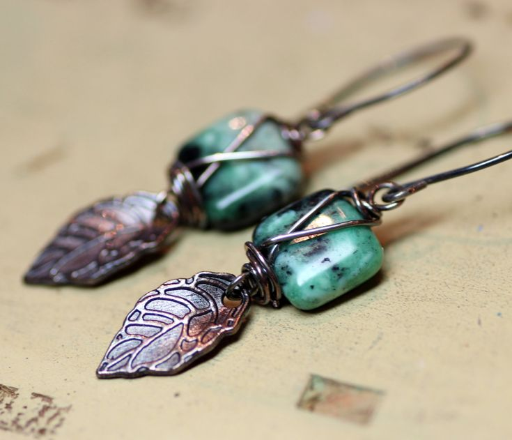 Turquoise Earrings Rustic Silver Wire Wrapped Earrings Blue Gemstone Earrings Rustic Jewelry Leaf Earrings. $28.00, via Etsy.