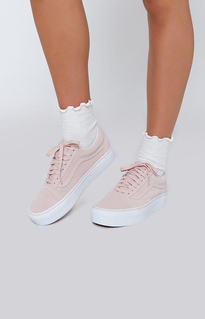 Vans Old Skool True White Platform Shoes