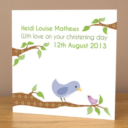 Personalised bird christening card £3.99 by Doodlebump. Half price when purchased with any print.