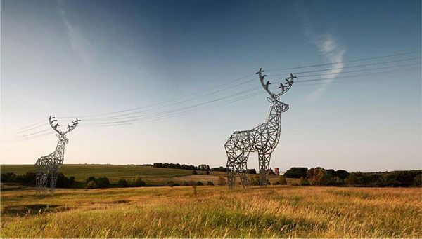 This would make landscapes more interesting.: Electrical Tower, Idea, Towers, Art, Deer Shaped, Design
