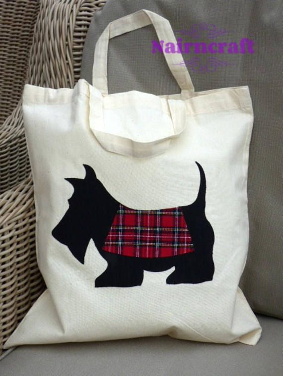 Tote Bag  Natural Cotton  Cream  Scottie Dog  Red Tartan  £12.99 plus shipping anywhere in the world