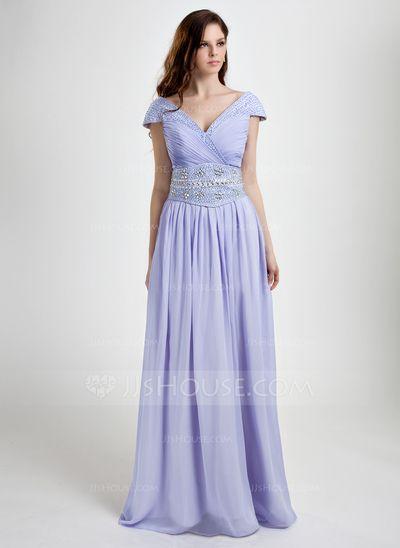 A-Line/Princess V-neck Floor-Length Chiffon Prom Dress With Ruffle Beading Sequins (008015801)