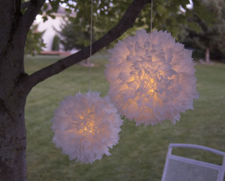 DIY Light-Up Pompoms | Made from LED lights, plastic up lids, and spare plastic bags, use up the trash around the house, and get a fantastic outdoor atmosphere maker!