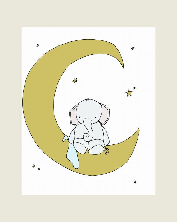 Elephant Nursery Art Print, Nursery Decor, Elephant Art Print, Elephant Moon and Stars Awake, 8x10 Children Art, Kids Wall Art, Custom White