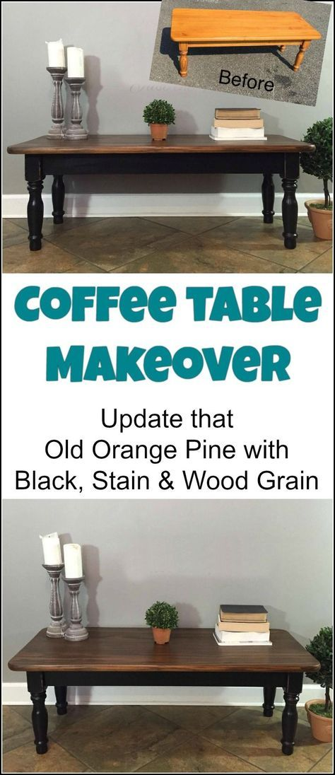 Black, Stain & Wood Grain Coffee table Makeover by Just the Woods