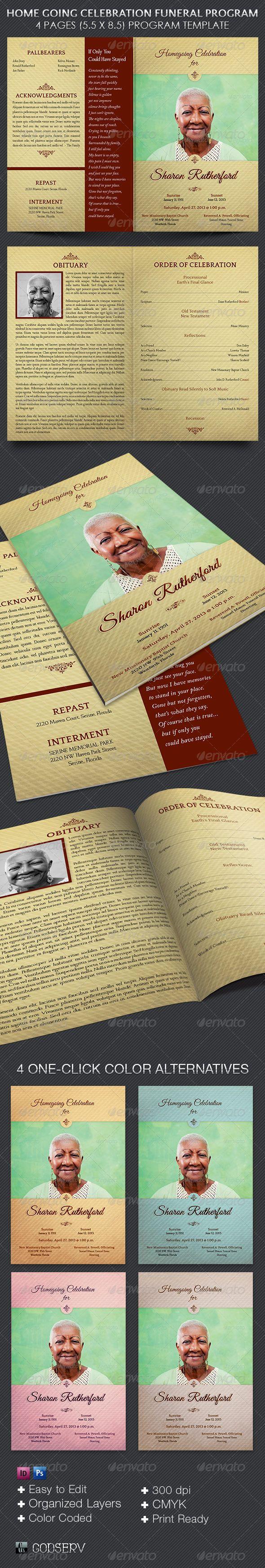 Home Going Funeral Program Template - Informational Brochures