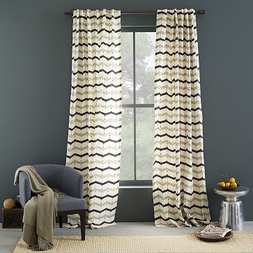 Cotton Printed Curtain - Dotted Chevron #westelm