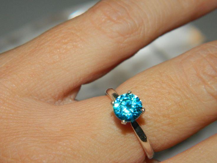 1 Carat Blue Diamond Promise Ring by JewelrybyDecember67 on Etsy, $49.00