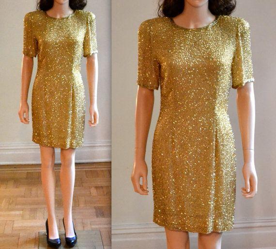 90s Gold Beaded Dress Size Small Medium// VIntage by Hookedonhoney, $125.00