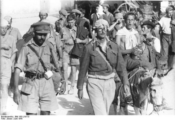 British prisoners of war on Crete, pictured after the surrender, later in June, 1941