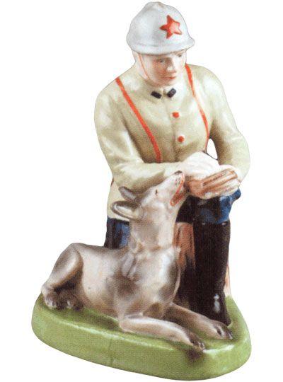 Фарфоровая статуэтка Пограничник с собакой ФЗ 30-е