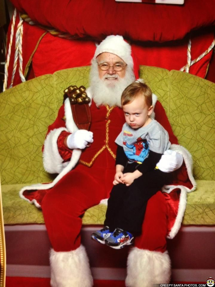 LITTLE BOY GETS SHIFTY EYED AROUND SANTA - Creepy Santa