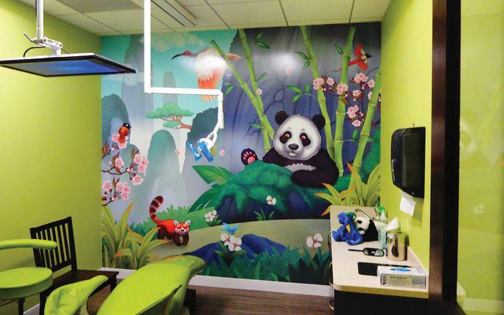 Panda mural for Pediatric Dental treatment room by Imagination Dental Solutions